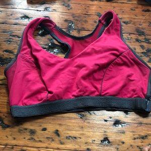 Pink sports bra with grey lining!